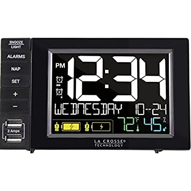 La Crosse Technology Digital Dual Alarm Clock w USB Charging Station with Dual Alarms