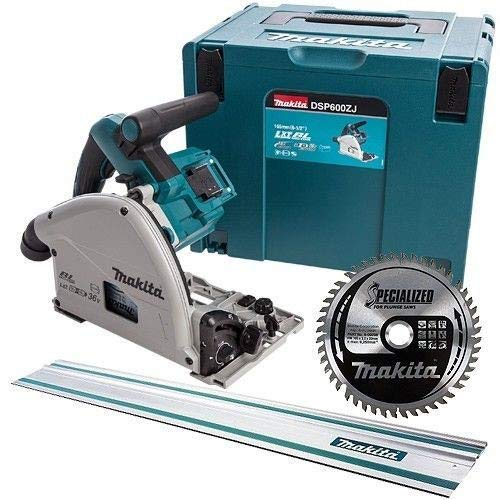 Makita DSP600ZJ 36V Brushless Plunge Saw with 1.5m Guide Rail + 48T Blade & Case