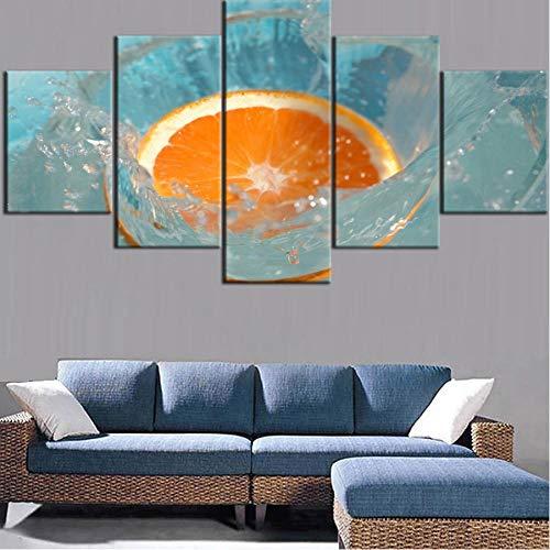 zmdnl Marco de póster de Arte de Pared, 5 Paneles, Pintura en HD, Cartel de Naranjas de Frutas, Listo para la decoración del Dormitorio