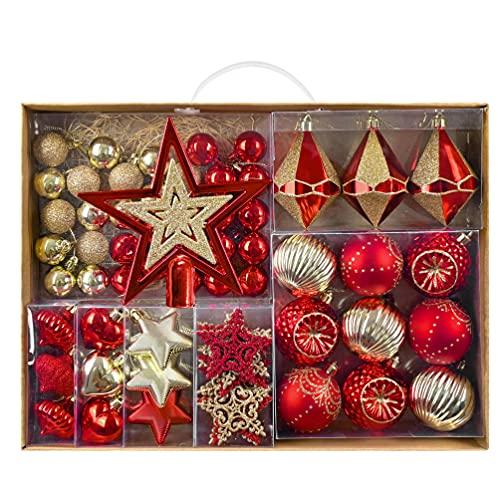 70 Piezas Bolas de Navidad de 3-6 cm, Adornos Navideños para Arbol, Decoración de Bolas de Navidad Inastillable Plástico de Rojo y Dorado, Regalos de Colgantes de Navidad