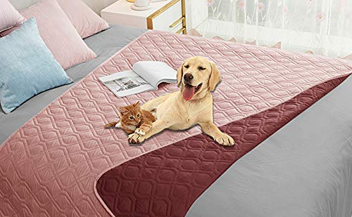 Ameritex Waterproof Dog Blanket for Bed Couch Sofa (52x82 Inches, Pink+Burgundy)