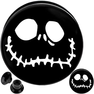 (1 Pair) 8g 6g 4g 2g 0g 00g 1/2 9/16 5/8 11/16 3/4 inch ear plugs and tunnels gauges flare tapers spiral 8 6 4 2 0 00 gauges nightmare before christmas jack skellington halloween plugs tunnels