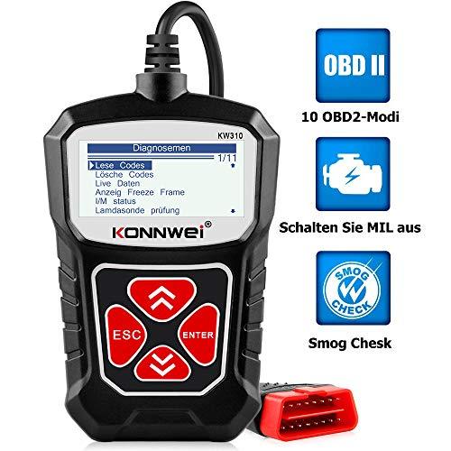 KONNWEI KW310 OBD2 Diagnosegerät Universal Auto Diagnosegerät Automotor Fehler-Code Scanner für 16-Pin OBDII/EOBD/CAN Protokoll KFZ in Deutsch