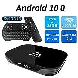 android tv box 10.0 2gb ram 16gb rom set top box smart tv box rk3318 usb 3.0 1080p ultra hd 4k hdr wifi 2.4ghz 5.8ghz bt 4.1 streaming media player con mini tastiera senza fili retro illuminata