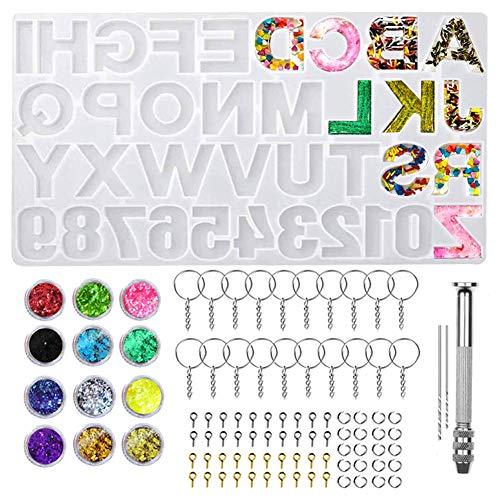 XYDZ Molde Silicona Resina, Moldes de Resina Epoxi con Número de Letras, Moldes para Resina para Fundición Número de Casa Llavero Pendientes Collares Pulseras Colgante