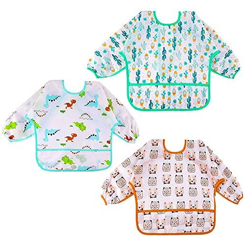 Baberos Bebés Impermeables Manga Larga Suave Material Para Niños Niñas 6 Meses-24 Meses EVA Waterproof