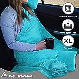Well Traveled 2 in 1 Wurfdecke mit Tragetasche - Warme Fleecedecke - Flugzeug Plüsch Nackenkissen für Schlafwurf - Leichte & Strapazierfähige Decke Reisekissen - Blaugrün - 4