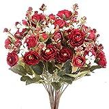 NAHUAA 4pcs Flores Artificiales Rosas Flores Falsas Decoración del Hogar Arreglos Florales Materiales Ramos de Boda Rosas Ramo