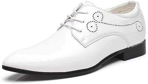 SRY-chaussures SRY-chaussures Chaussures de Cuir PU Lisse Lisse brunies pour Hommes Classiques (Couleur   Blanc, Taille   10.5MUS)  pas cher et de la mode