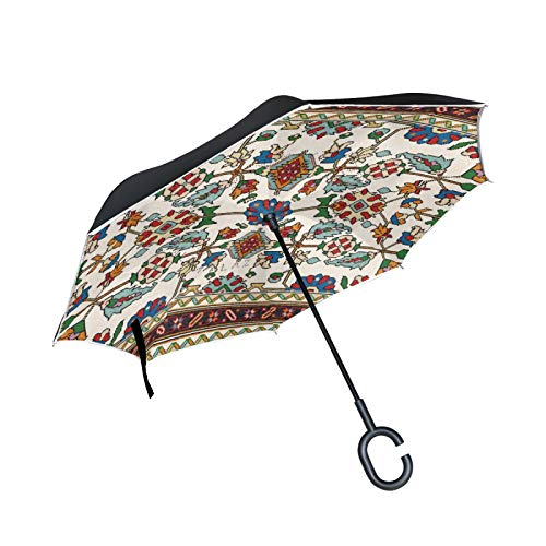 Paraguas invertido de Doble Capa, a Prueba de Viento, para Exteriores, para...