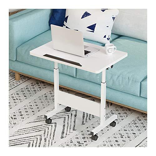 LAA Ajustable Mesa De Ordenador Portatil, con Bisel for Evitar Caídas, Altura Ajustable Escritorio Multifuncional Mesa Cama Ruedas (Color : White)