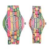 Infinito U- Reloj de Madera para Mujer y Hombre Hecho a Mano en Madera de bambú con Movimiento de Cuarzo Analógico Relojes de Colores del Arco Iris Regalo del Festival del Orgullo