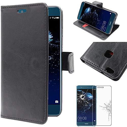 ebestStar - Cover Huawei P10 Lite Custodia Portafoglio Pelle PU Protezione Libro Flip, Nero + Pellicola Vetro Temperato [Apparecchio: 146.5 x 72 x 7.2mm, 5.2'']