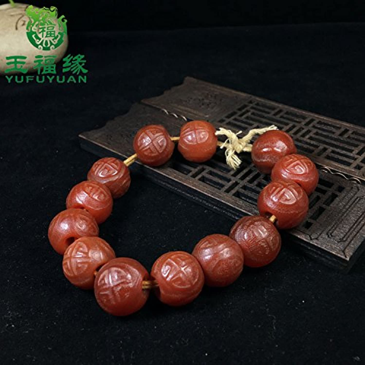 High Ancient Antique Carved Onyx Beads Round Pattern Old Fu Man Playing semi-Loose Beads Bracelets Necklace Pendant with Beads