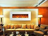 GLOW FIRE Elektrokamin mit Heizung, Wandkamin mit LED   Künstliches Feuer mit zuschaltbarem Heizlüfter: 750/1500 W   Fernbedienung (Größe L - 126 cm, Weiß) - 2