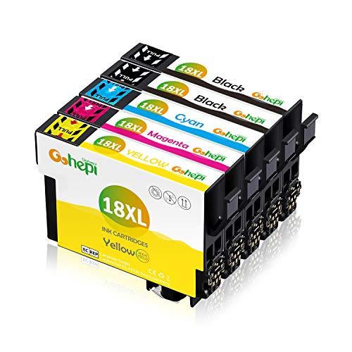 Gohepi Ersatz für Epson 18 18XL Druckerpatronen Hohe Kapazität Kompatibel für Epson Expression Home XP-322 XP-412 XP-305 XP-312 XP-405 XP-425 XP-325 XP-225 XP-215 (2 Schwarz, 1 Blau, 1 Rot, 1 Gelb)