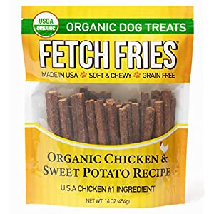 Fetch Fries Organic Chicken and Sweet Potato Jerky Dog Treats, Made in USA, Soft and Chewy (16 oz)