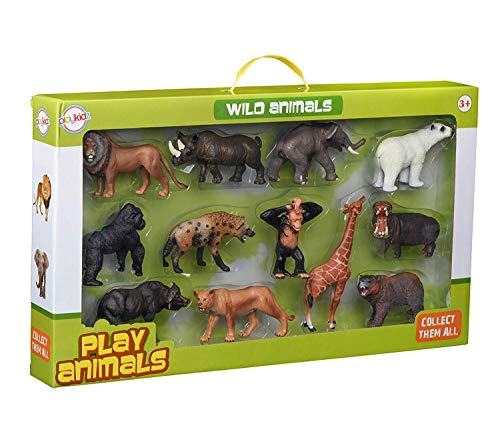 Playkidz Animal Figures  Jumbo Jungle Animal Toy Set 12 Pieces  Toys Realistic Wild Vinyl Animals for Kids  Toddler  Child  Plastic Animal Party Favors Learning Forest Farm Animal Toys Playset.