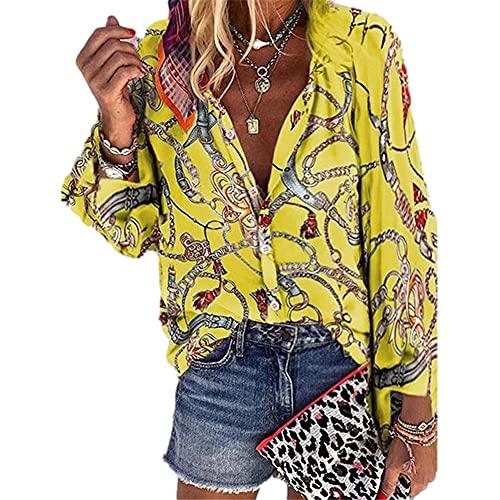 Tops Mujer Elegante Estampado Tapeta con Botones Cuello Redondo Mujer Camisa All-Match Generoso Temperamento Informal Colocación Transpirable Única Primavera-Verano Mujer Blusa C-Yellow S