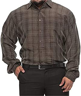Synrgy Big and Tall Plaid Raised Stitch Long Sleeve Shirt for Men