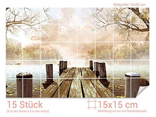 GRAZDesign Fliesenaufkleber See/Steg/Bäume für Kacheln Wand-Deko für Bad/Küchen-Fliesen (Fliesenmaß: 15x15cm (BxH)//Bild: 75x50cm (BxH))