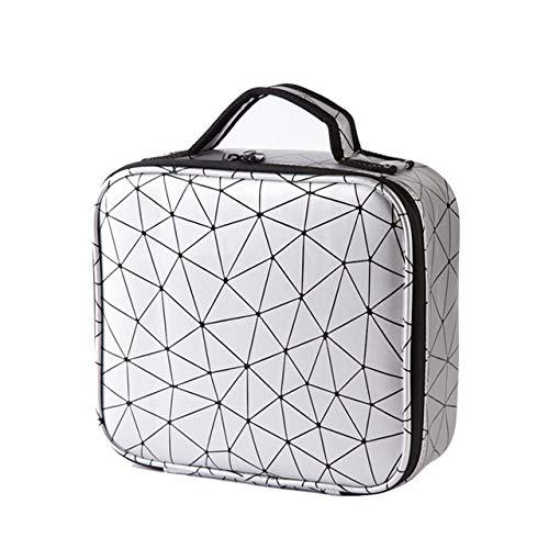 PoplarSun Cas cosmétique Voyage Mode Portable Diamant Check Sac cosmétique Organisateur Voyage étanche Esthéticienne Femmes Sac Boîte de Rangement (Color : Silver)