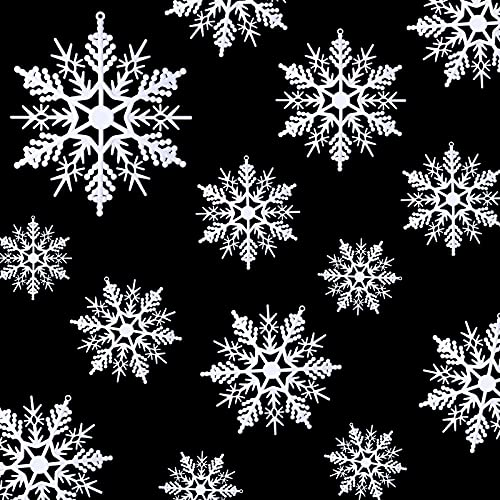 54 Adornos de Copo de Nieve Blanco de Plástico Decoraciones Navideñas de...