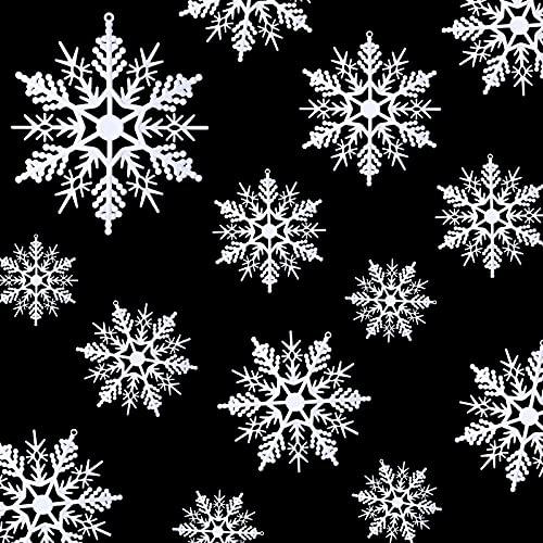 54 Pezzi Ornamenti di Fiocchi di Neve di Plastica Bianca Decorazioni Natalizie Invernali Fiocchi di Neve da Appendere Fai da Te Decorazioni Natalizie per Finestre per Albero di Natale