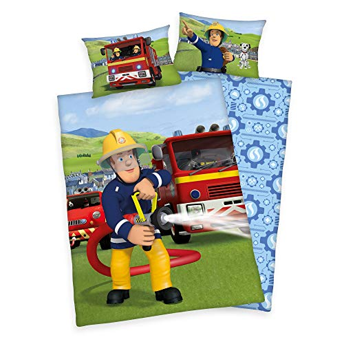 Herding Baby Wende Bettwäsche Feuerwehrmann Sam 40 x 60 und 100 x 135 cm