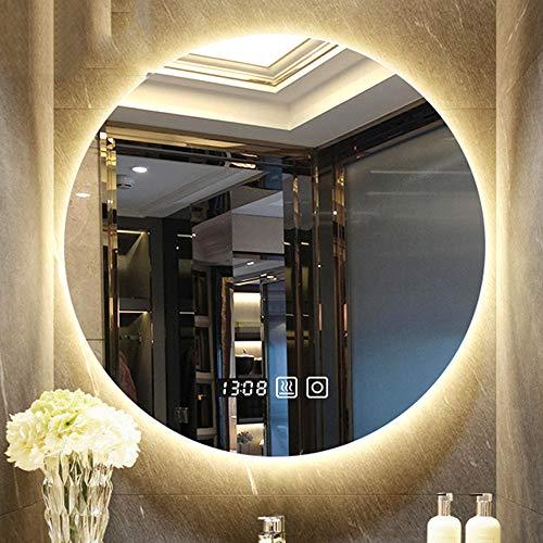 B&G Espejo De Baño, Rondando Llevado Elegante En La Pared con Lámpara, Tiempo Temperatura, Anti-Fog Tres Tonos De Luz,70X70CM