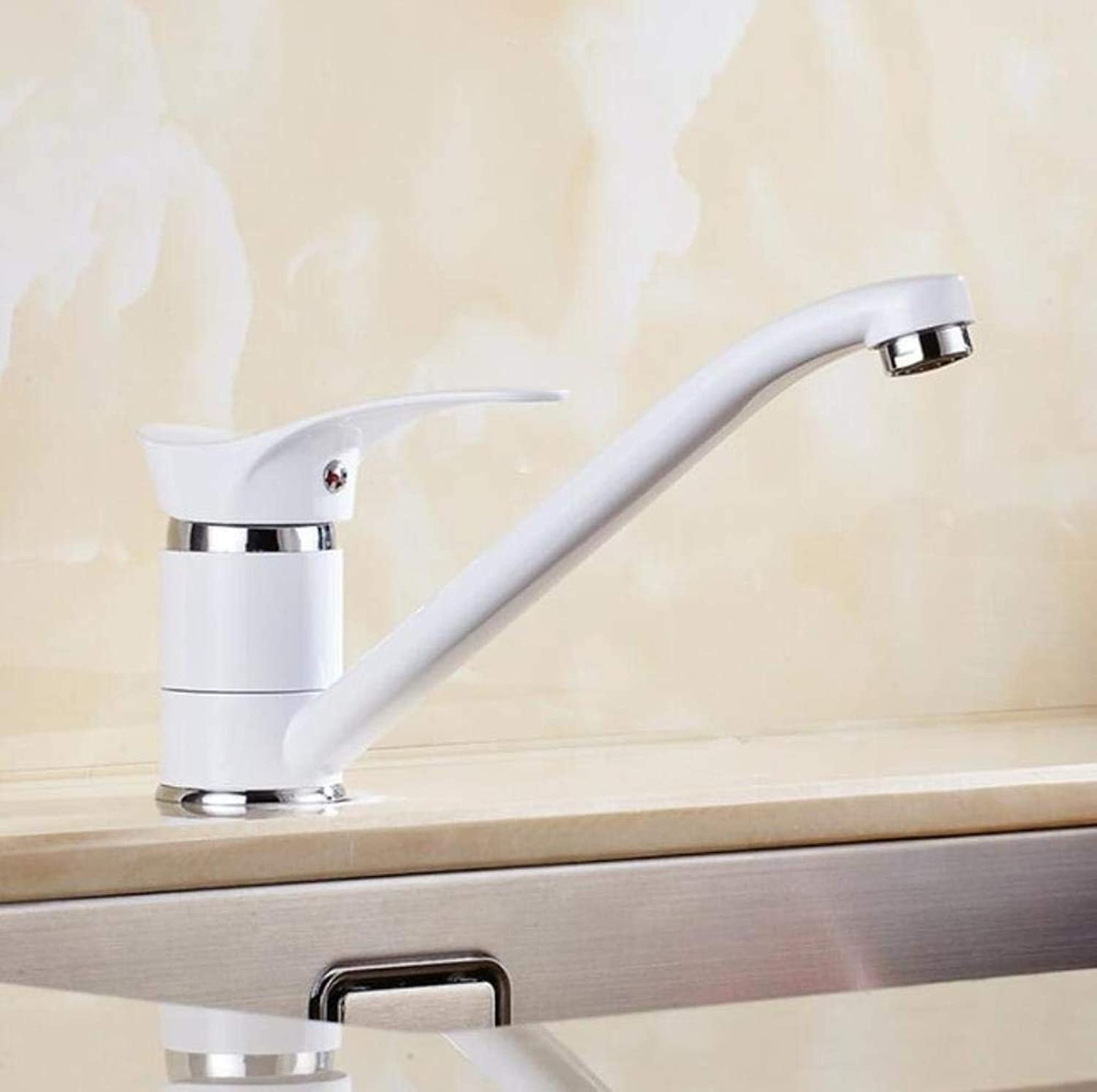 Kai&Guo hot and cold single lever hot and cold kitchen faucet Swivel Black White Kitchen mixer Water tap sink faucet,white
