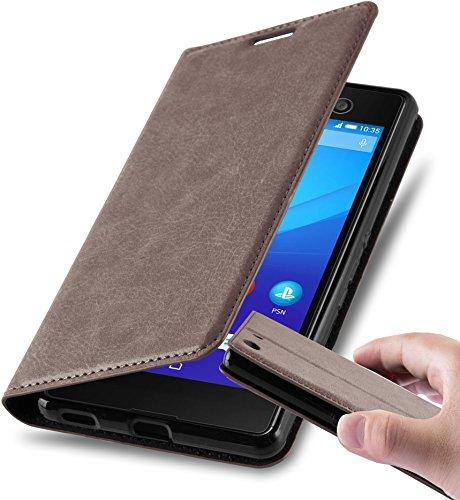 Cadorabo Hülle für Sony Xperia M5 in Kaffee BRAUN - Handyhülle mit Magnetverschluss, Standfunktion & Kartenfach - Hülle Cover Schutzhülle Etui Tasche Book Klapp Style