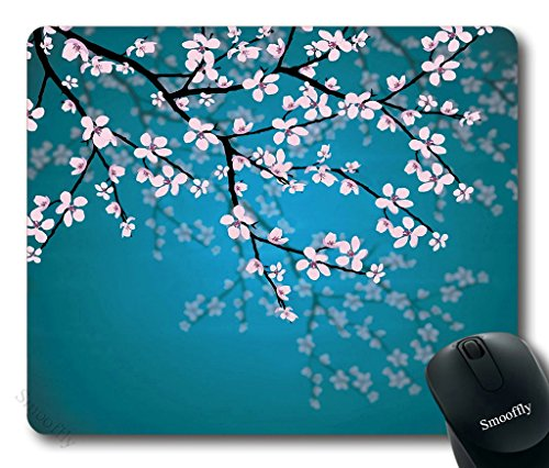 Smooffly Sakura Mouse Pad,Leaves and Plants Ombre Spring Japanese Sakura Flowers in Garden Park Gaming Mouse Pad