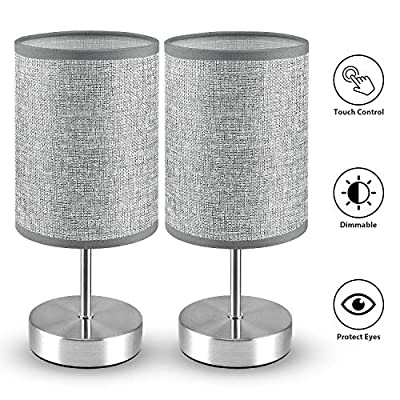 Touch Control Table Lamp, MOICO 3 Level Brightness Dimmable Bedside Desk Lamp with Linen Shade, Modern Nightstand Night Light for Bedroom, Living Room, Office, Kids Room, College Dorm, Set of 2