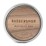Barbershop Mustache Wax 1 Ounce Tin of Strong All Day Hold Mustache Wax  with Beeswax, Lanolin, Tea Tree and Jojoba Essential Oils, Mens Care Great Smelling Facial Hair Products