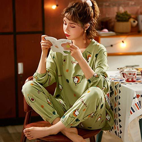 LUOY Damen Pyjama Set,Ladies Cosy Soft Beige Nightwear Avocado-Print Rundhalsausschnitt Langarm Cotton Tops Pants Schöne Homewear Christmas Perfect Present, XL
