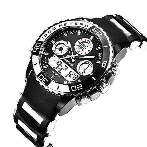 ZPF RelojRelojes Hombres Reloj de Cuarzo Digital de Goma para Hombre Reloj Deportivo Militar para Hombre Reloj de Pulsera MilitarNegro