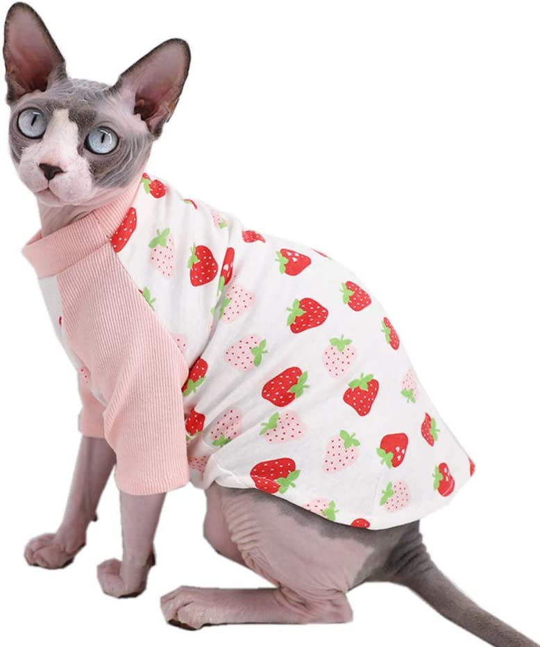 Sphynx Hairless famous Cat sale Cute Breathable T-Shirts Cotton Summer Milk