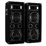 Malone PW-65X22 Black Edition - Pareja de Altavoces fullrange, 2X 600 W de Potencia máx., Subwoofer de 2 x 16cm (6,5'), 2 x tweeters Piezo, Terminales estéreo, Bassreflex, Asa de Transporte, Negro