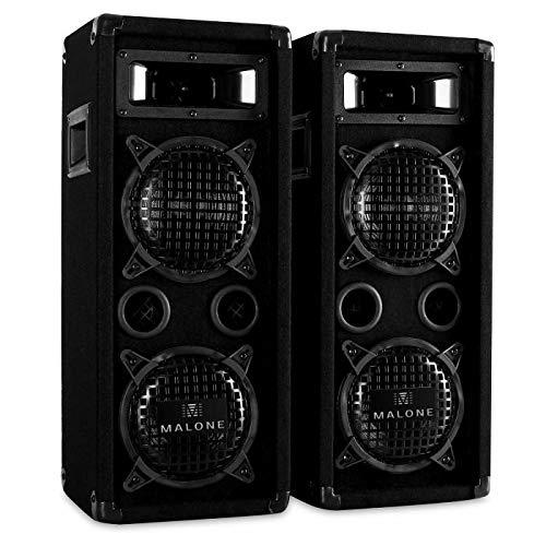 Malone PW-65X22 Black Edition - Pareja de Altavoces fullrange, 2X 600 W de Potencia máx., Subwoofer de 2 x 16cm (6,5