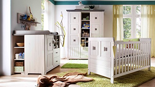 Babyzimmer Einrichtung Komplettset Malmö 7-teilig Kiefer massiv weiß (weiß/lava)