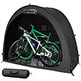 Hwayslon Bike Tent Bike Storage Shed Portable Bike Storage Tent Cover Thicken Waterproof Fabric & Reinforced Alloy Bracket Bike Storage Cover Shelter for Outdoor Camping Garden (Black)