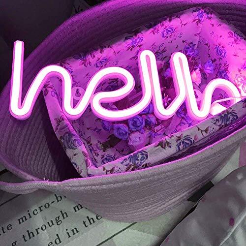 Luces de neón LED Luces Hola Forma Letreros de neón Palabra Luz Decoración de pared decorativa para luz de noche Lámpara brillante Habitación para bebés, hotel, banquete de bodas (Rosa Hola)