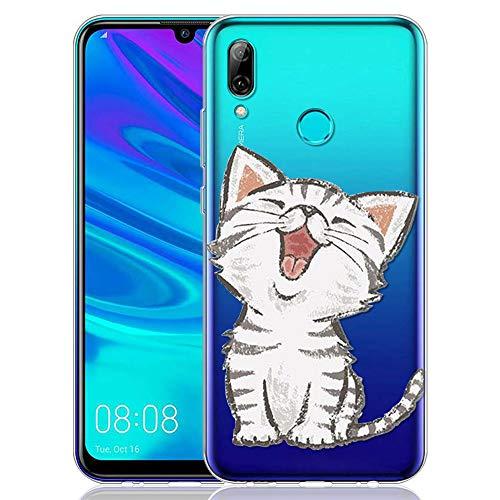 ZhuoFan Huawei P Smart 2019 Hülle, Schutzhülle Silikon Transparent mit Muster Motiv Handyhülle Ultra Dünn Slim Stoßfest Weich TPU Bumper Case Backcover für Huawei P Smart 2019, Lächelnde Katze