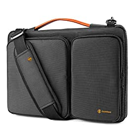 "tomtoc 360 Protective Laptop Shoulder Bag for 12.3 inch Surface Pro X/7/6/5/4, 13-inch New MacBook Air Retina Display A2179 A1932, MacBook Pro A1989 A1706 A1708, Notebook Accessory Case Sleeve 5 <p>Wirecutter Pick Awards: Standing out by incredible carry versatility and outstanding quality, our A42 Series were appraised ""A Great Laptop Bag"" by Wirecutter (A New York Times Company) Superior Protection: tomato laptop sleeve features two CornerArmors at the bottom corners to protect your laptop/tablet from drops and bumps during potential accident like the car airbag; Soft fluffy interior and waterproof material exterior offers your device 360° protection from scratch, knocks, bumps or accidental dropping Roomy Space: Features a main compartment for laptop or tablet, two sealed pockets to easily store and transport accessories such as your charger, adapter, mouse, cables, phone, wallet, etc. You will always be able to find what you need, when you need it Premium Quality and Easy to Carry: Specially made with YKK zipper for long lasting life; Being lightweight and compact, The laptop case can be comfortably carried with the tensile PU Leather handle or double adjustable shoulder strap, or slipped inside your backpack, messenger bag or briefcase Widely Compatibility: Internal Dimensions - 13.75"" x 9.48"" x 0.61""; Perfectly fit 15-inch MacBook Pro with Touch Bar (A1990 A1707) 