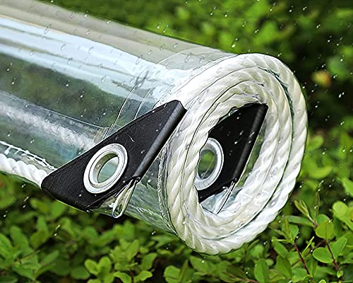 F-XW 640g/m² Lona Transparente Impermeable Cubierta Protectora con Ojales, 0.55mm PVC Plastico Cubretodo, Cortina para Patio Pérgola Porche Glorieta Cabaña/Interior (Size : 2.5x5m)