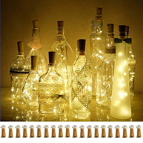 Decorman Wine Bottle Cork Lights, 20 Pack 20 LED Cork Shape Silver Copper Wire LED Starry Fairy Mini String Lights for DIY/Decor/Party/Wedding/Christmas/Halloween (Warm White)