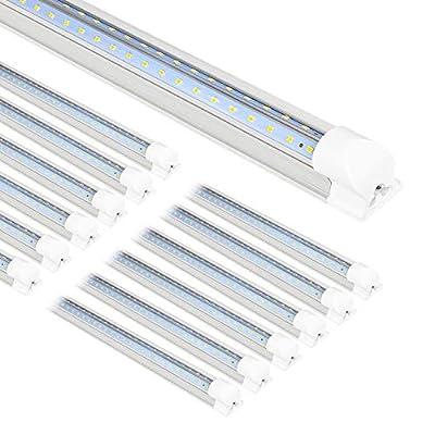 Hykolity 12 Pack 8FT LED Shop Light Fixture, 72W Integrated LED Tube Light, 8600LM, 5000K Daylight, Linkable Shop Lights, 8 Foot T8 LED Tube Light for Garage,Warehouse, Workshop, ETL and DLC Listed