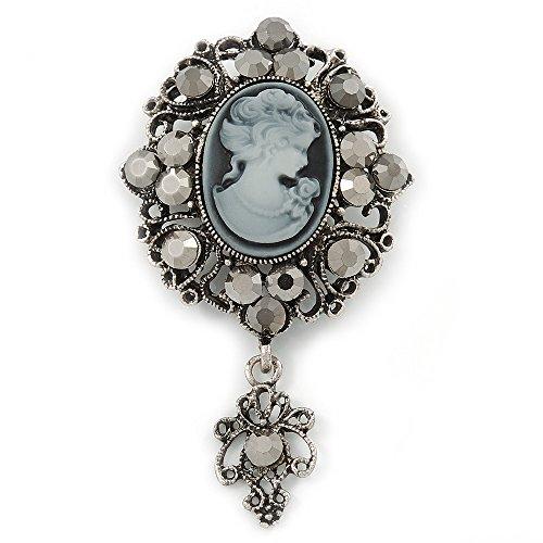 Vintage inspiriert Hämatit Kristall Cameo mit Charme Brosche in Antik Silber tone–65mm L