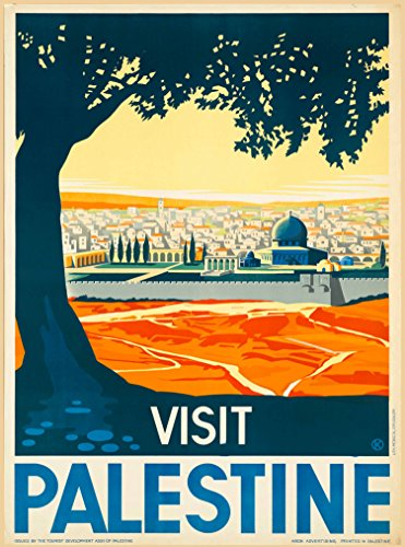 A SLICE IN TIME Visit Palestine Israel Jerusalem The Land of The Bible Vintage Travel Adventure Advertisement Art Souvenir Poster Print. Measures 10 x 13.5 inches